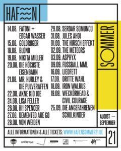 HafenSommer21 - Programm August bis September (Credits: www.hafensommer21.de)